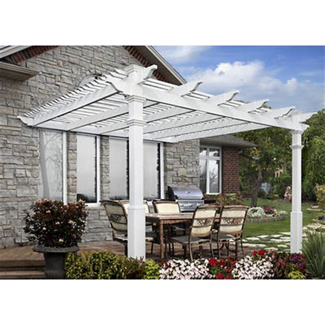 new pergola new arbors atrium 12 x 12 attached pergola with base molding and shade kit bj s
