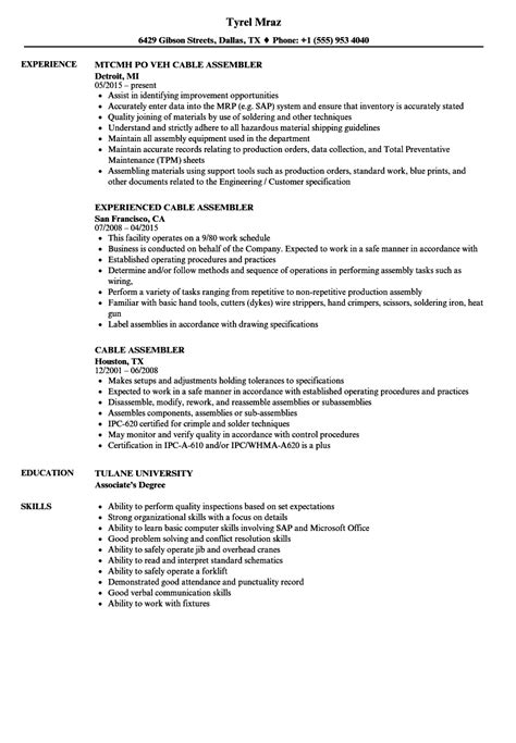 Assembler Resume Crane Repair Sle Resume Template For Project