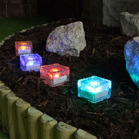 4 colour changing solar garden glass brick lights