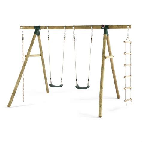 two swing swing set gibbon wooden garden swing set plum play