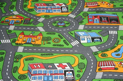 Town Rug Carpet Karpet 1 childrens bedroom carpet cars play city town