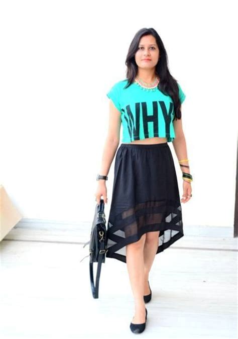 of the day green crop top with black hi low skirt