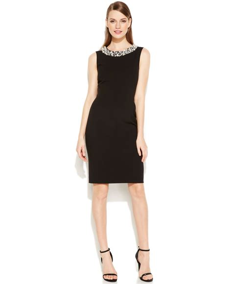 bead trim for dresses calvin klein beaded sheath dress in black lyst