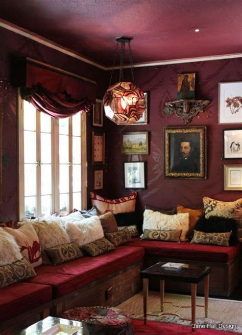 Maroon Color Room by Bohemian Style Sitting Room With Burgundy Walls And Garnet