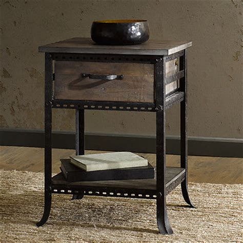wood nightstand side end table accent drawer shelf accent end table rustic drawer shelf industrial nightstand