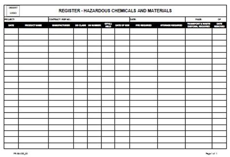 hazardous substance register template register hazardous chemical and materials allsafety
