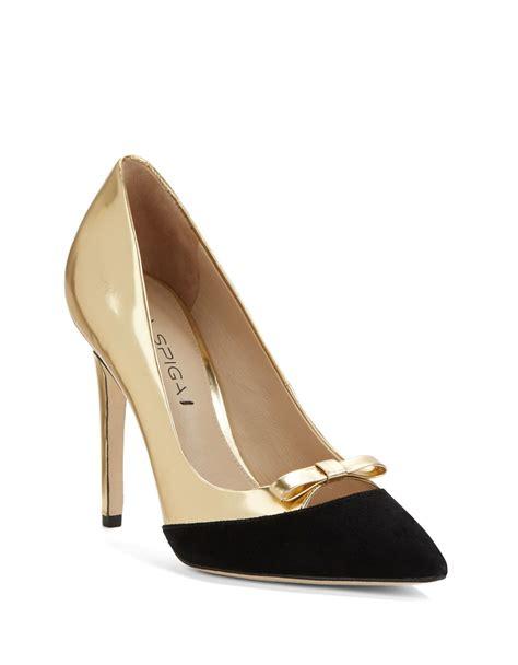 sepatukubaru fara flatshoes gold via spiga fara suede and leather pumps in metallic lyst