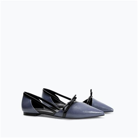 zara flat shoes zara flat shoes with bow in blue lyst