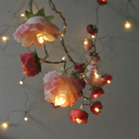 Flower Lights For Bedroom Bohemian Garden Mixed Lights Pretty Flower String Lighting In And Pinks