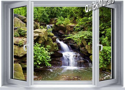 window wall murals mountain waterfall window 1 canvas peel stick wall