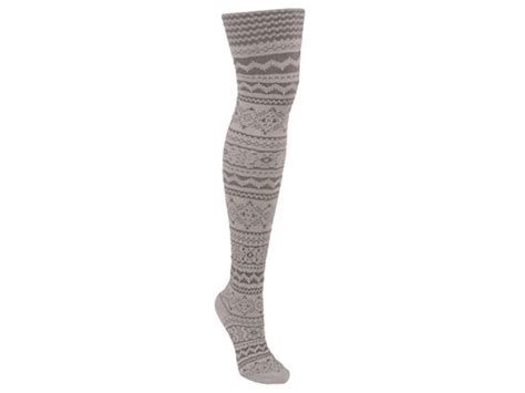 patterned microfiber tights muk luks 174 patterned microfiber tights ivory grey