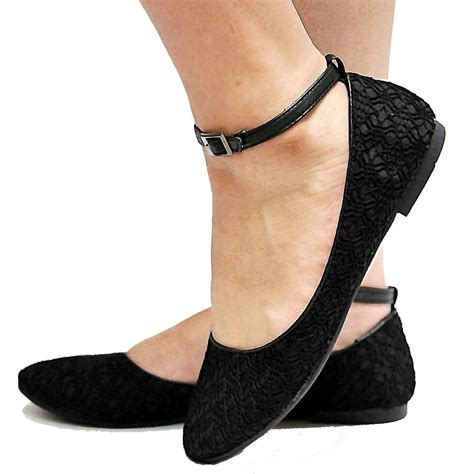 flat shoes with ankle straps new ff1 black crochet ankle ballet