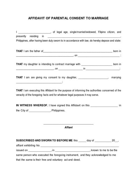 Parent Consent Letter For Civil Wedding Blank Affidavit Of Parental Consent To Marriage