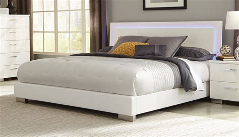 coaster felicity platform bedroom set white 300345 bed coaster felicity led lighted bed high gloss white 203500