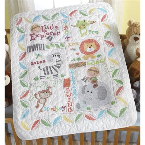 Baby Quilt Cross Stitch explorer baby quilt kit bucilla sted cross