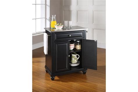 stainless steel top kitchen island cambridge stainless steel top portable kitchen island in black by crosley