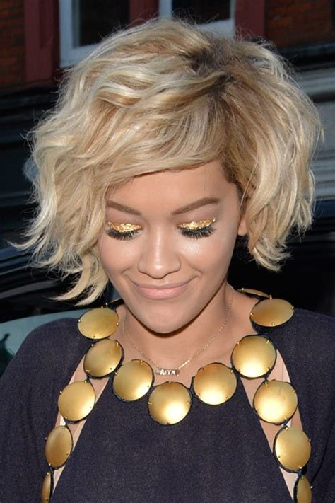 rita ora choppy hairstyles rita ora wavy golden blonde bob choppy bangs shaggy bob