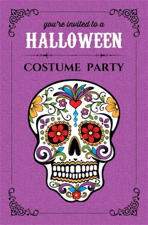 Day of the Dead Skull Halloween Party Invite   Halloween