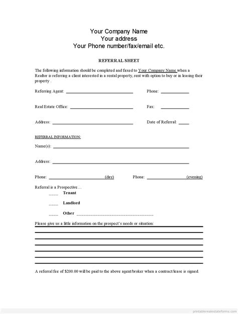sales referral agreement template free printable real estate referral form template pdf