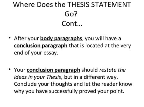 where does the thesis go in the conclusion where does thesis statement go in conclusion dgereport84