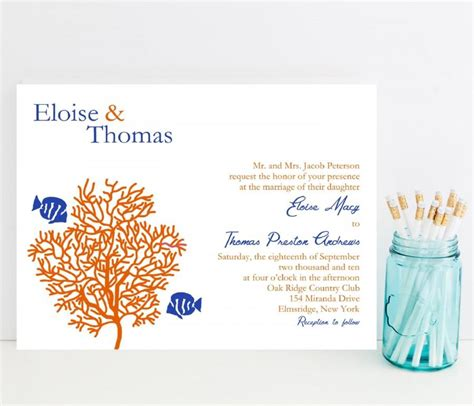 coral reef wedding invitation tropical fish theme wedding invitation 2521842 weddbook