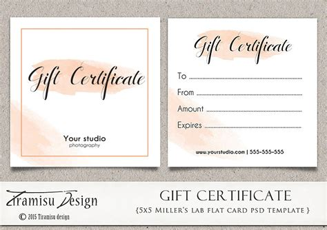 photoshop template gift card photography gift certificate photoshop 5x5 card template