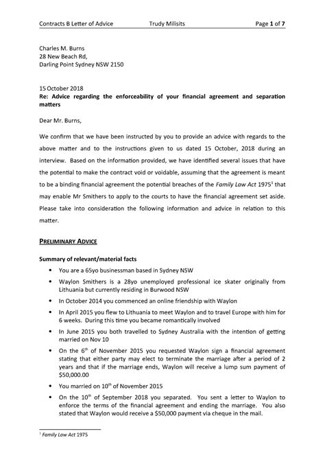 client letter advice contracts assignment laws
