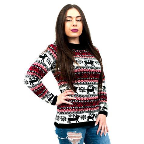 black pattern christmas jumper c3109 bk ladies christmas jumper with reindeer striped