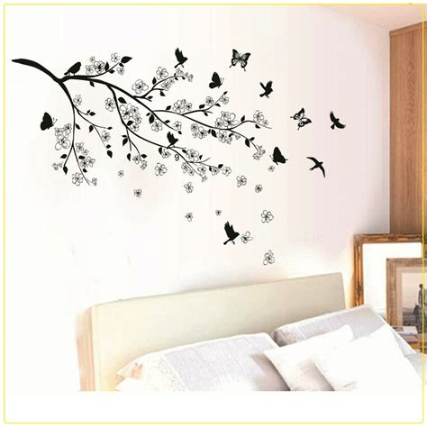 home decor wall decals black butterfly tree flower removable wall decals sticker