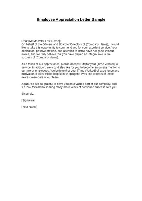 appreciation letter to employees format employee appreciation letter sle hashdoc