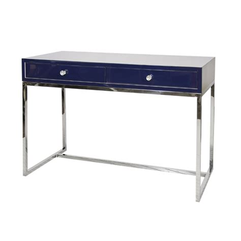 stainless steel shop desk william navy lacquer desk with stainless steel base shop