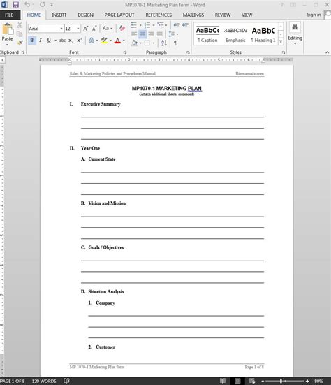 Marketing Plan Template Marketing Form Template