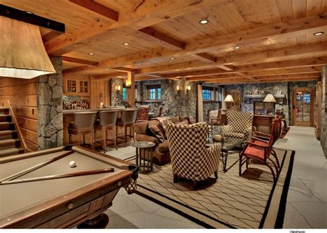 Small Cabin Plans With Basement Walk Out Basement With Bar Several Seating Areas And Pool
