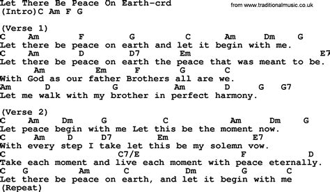 printable lyrics to let there be peace on earth top 500 hymn let there be peace on earth lyrics chords