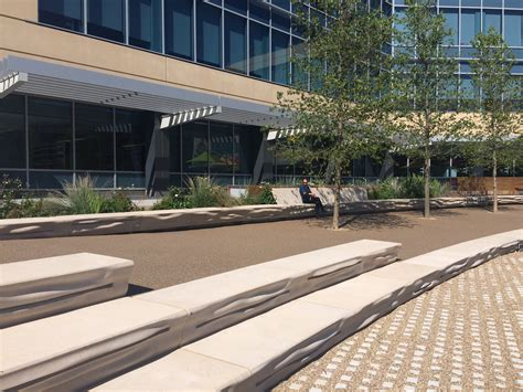 custom concrete benches designing an ecological corporate cus
