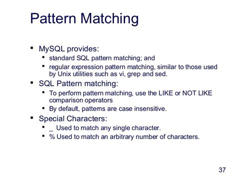 pattern matching in unix intro to my sql