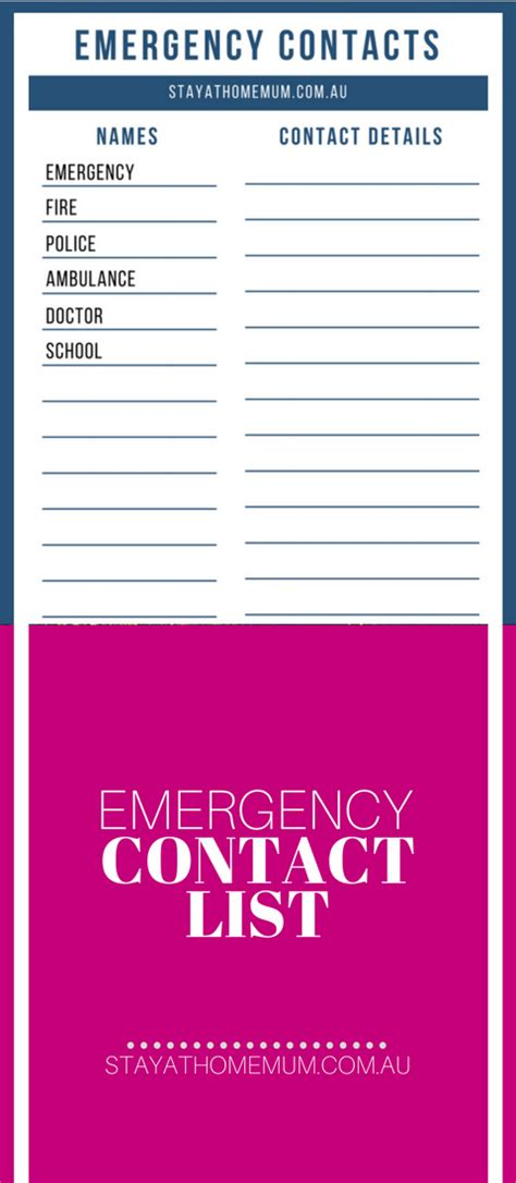 emergency contact list template emergency contact list