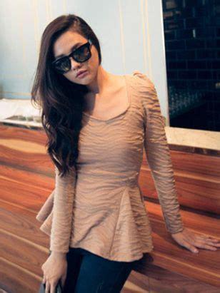 Wavy Collar Neck Slim Top square neck wavy line slim sleeve dress