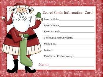 secret santa information sheet secret santa