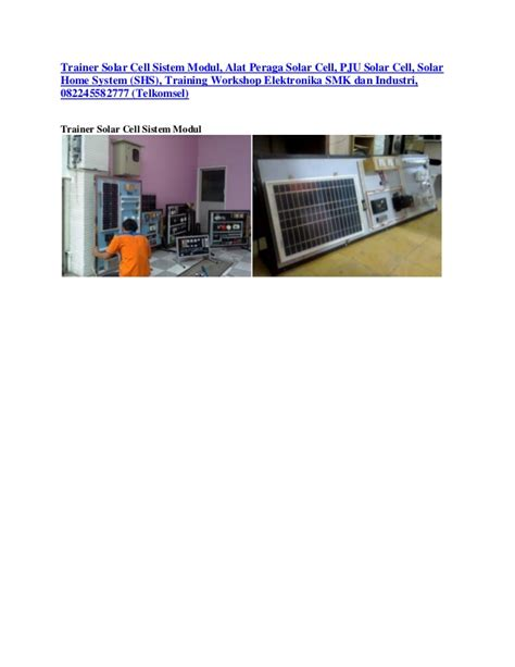 Shs Home by Trainer Solar Cell Sistem Modul Alat Peraga Solar Cell