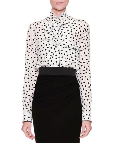 Polka Dot Blouse With Tie by Dolce Gabbana Tie Neck Polka Dot Blouse White Black