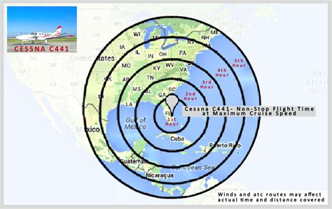 great flight range map from pbi airport