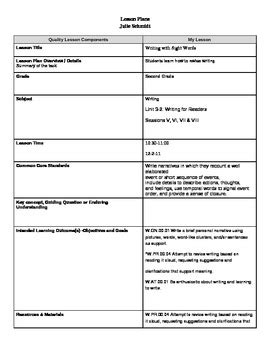 danielson lesson plan template doc danielson language arts lesson plan by teaching