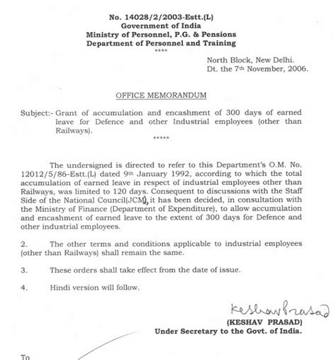 Request Letter Format For Air Ticket Encashment Of 300 Days Of El For Defence Employees Dopt Order 7 11 2006