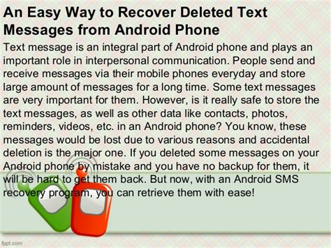 recovering deleted texts android an easy way to recover deleted text messages from android