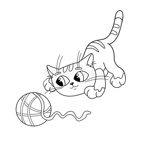 coloring page outline  cat playing  ball  yarn