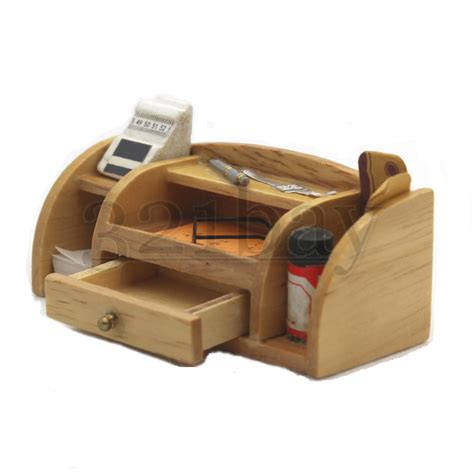 Office Desk Supply Miniature Desk 1 12 Wooden Office Supplies Office Set Pen Holder Desktop Set