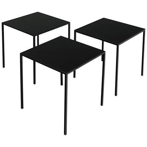 set of three small black metal glass coffee tables for