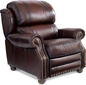 traditional high leg leather recliner by la z boy wolf