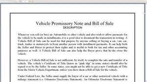 vehicle promissory note template free vehicle promissory note and bill of sale